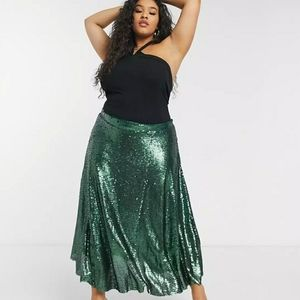 Native Youth Plus A-Line Midi in Green Sequins-NWT